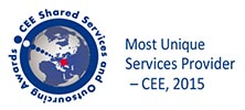 "PSis 2015's ""Most Unique Services Provider – CEE"" at the 3rd annual CEE Shared Services and Outsourcing Awards"